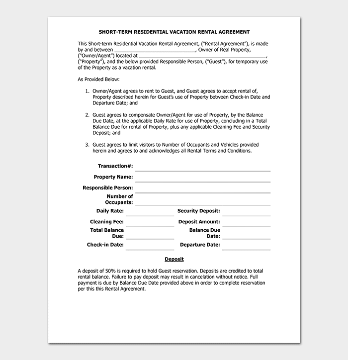 Model Vacation Rental Agreement