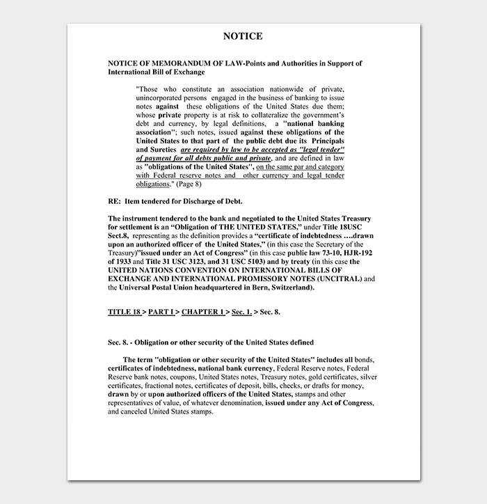 Notice Of Memorandum Of Law