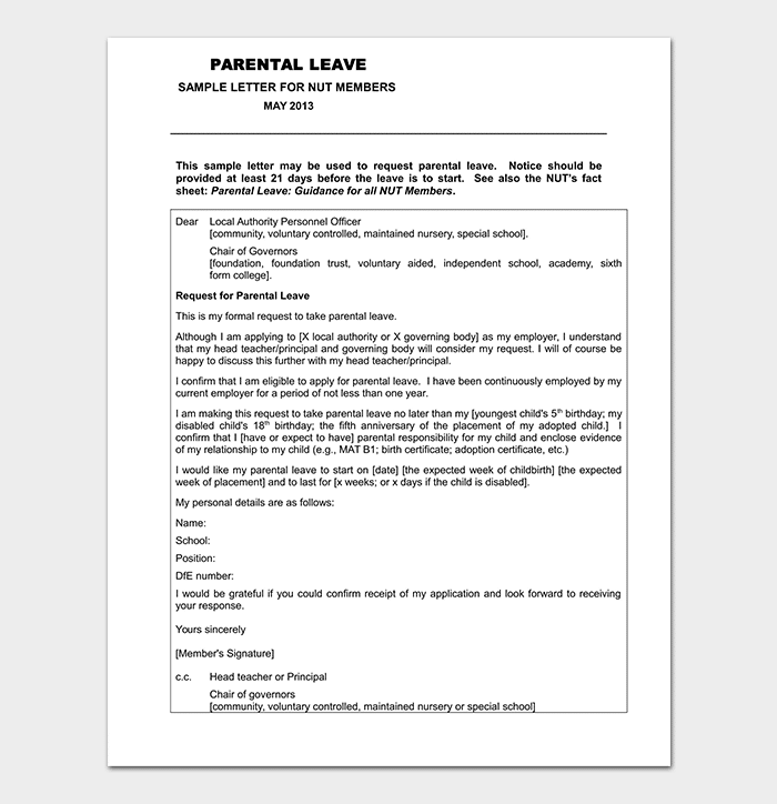 Paternity Leave Letter Template