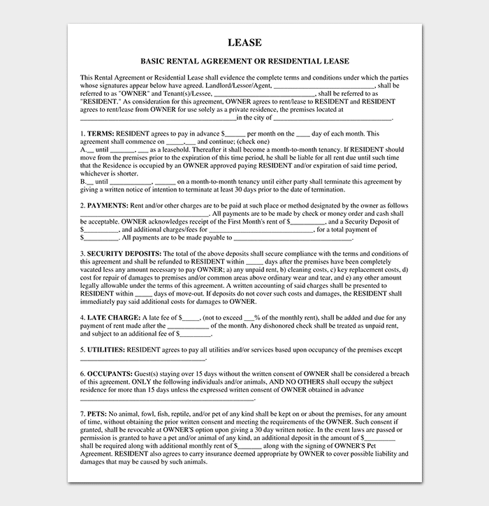 Private Rental Lease Agreement