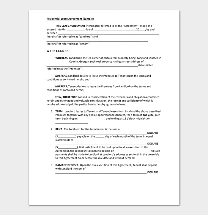Private Residential Lease Agreement
