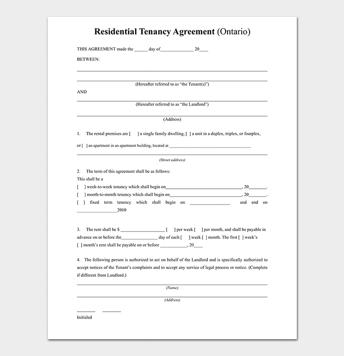 Private Lease Agreement Free Samples Examples