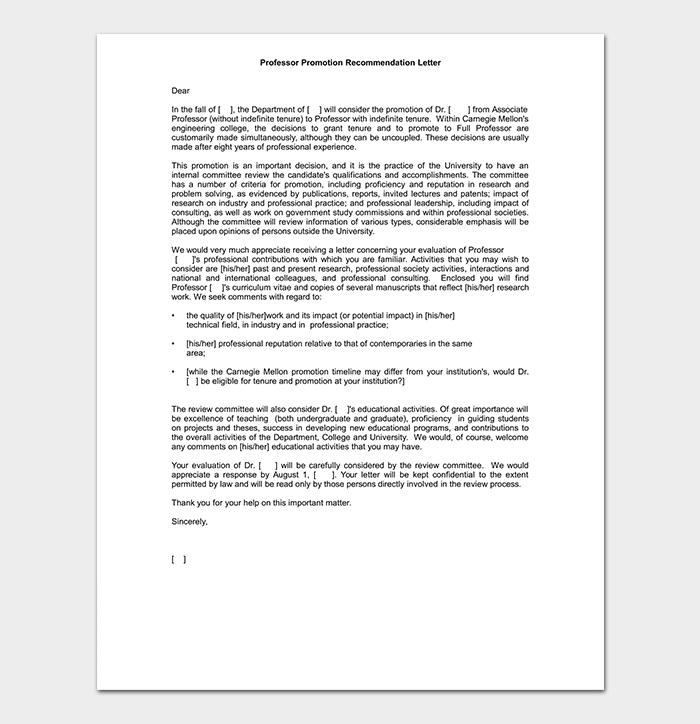 Professor Promotion Recommendation Letter