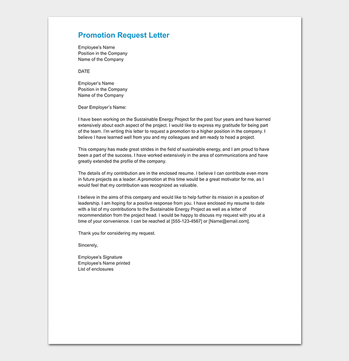 Promotion Request Letter WORD