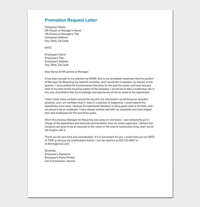Promotion Request Letter 12 Sample Letters Amp Format