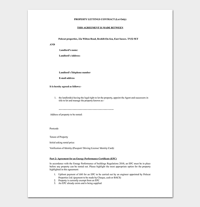 Property Letting Agreement