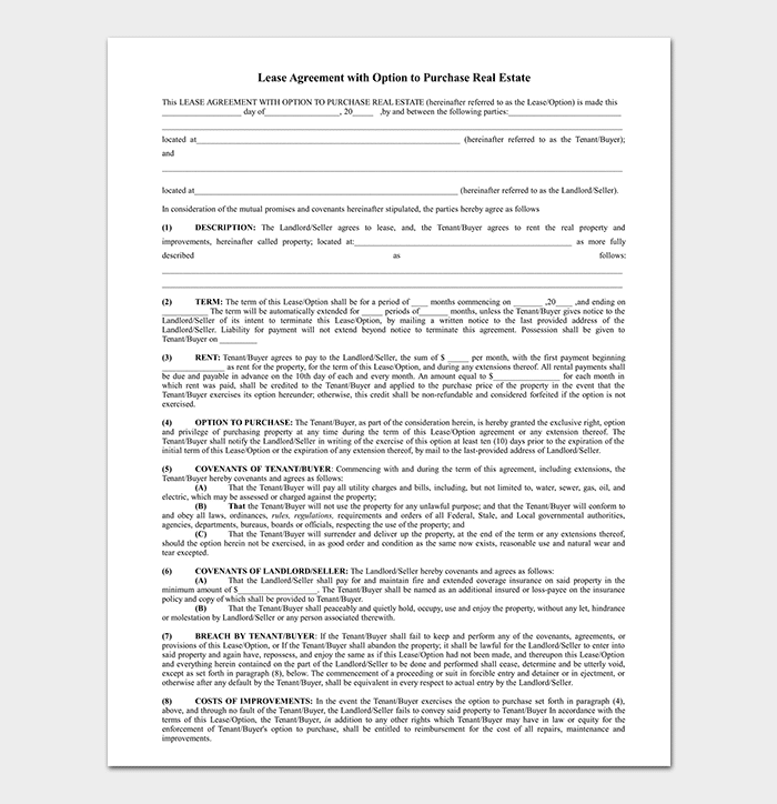 Real Estate Property Rental Agreement