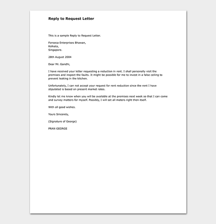 Reply-to-Request-Letter Query Format Example on