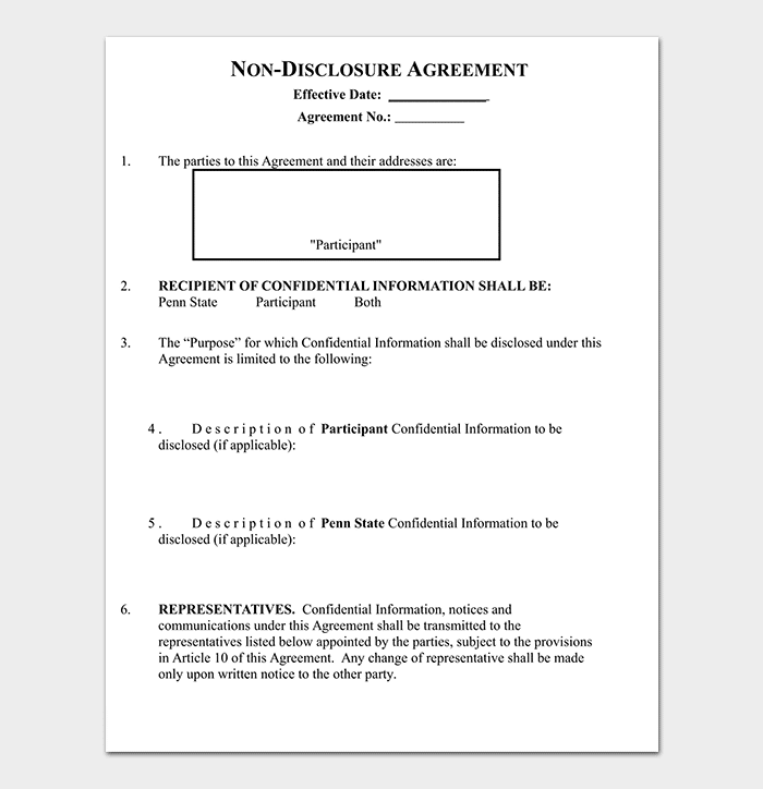 Standard Non Disclosure and Confidentiality Agreement