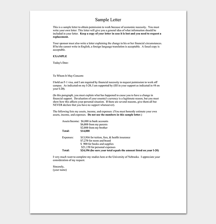 Work Permission Letter Format Amp Sample Work Authorization