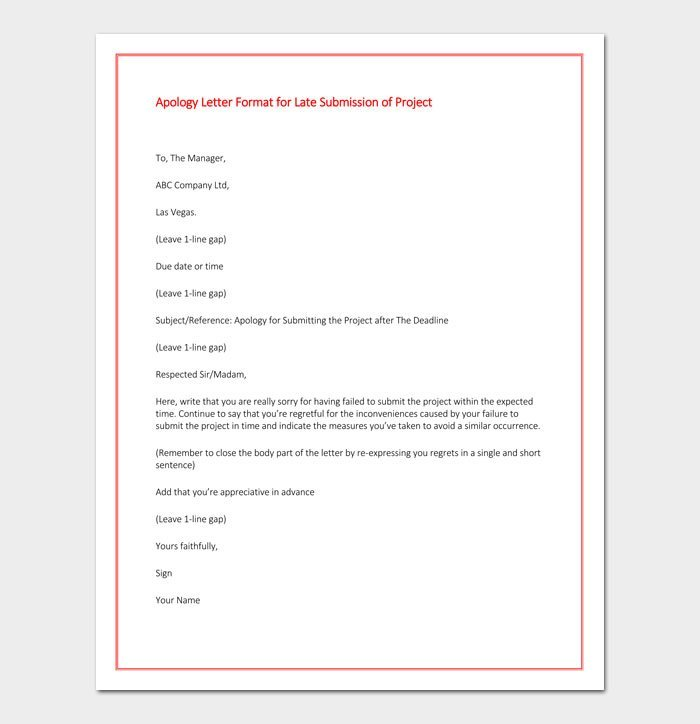 Apology Letter Format for Late Submission of Project