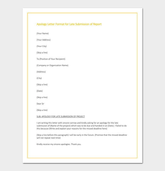 Apology Letter Format for Late Submission of Report
