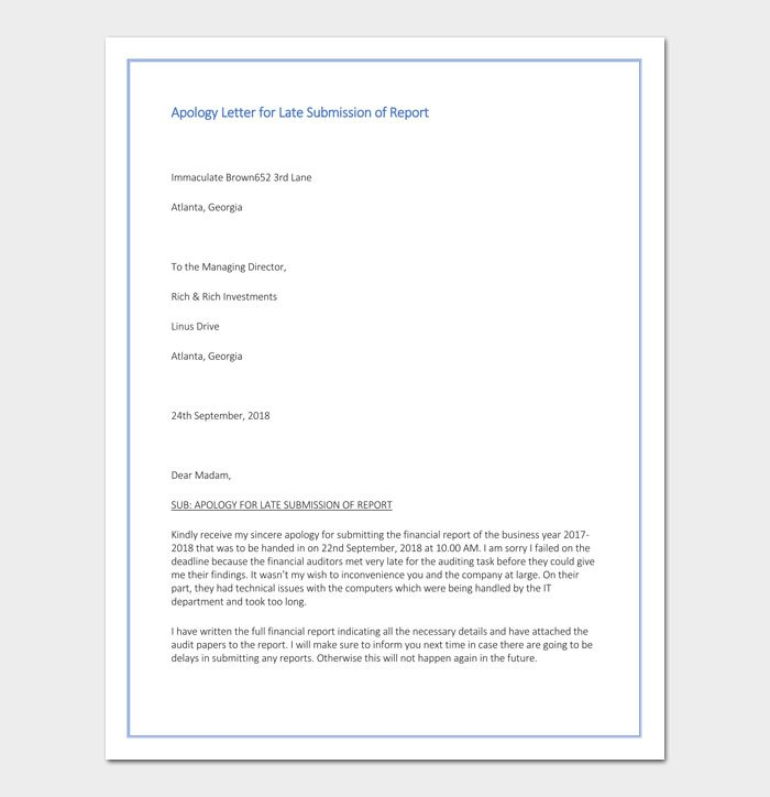 Apology Letter for Late Submission of Report