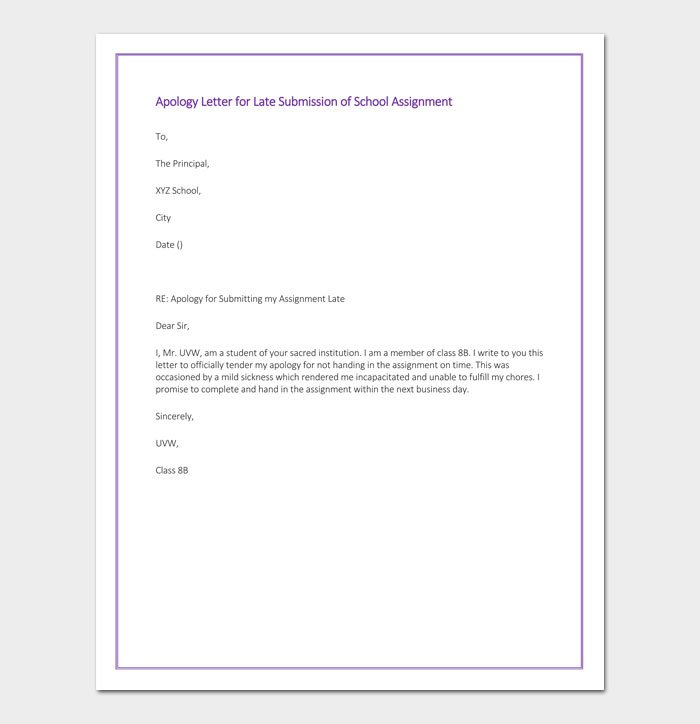 Apology Letter for Late Submission of School Assignment