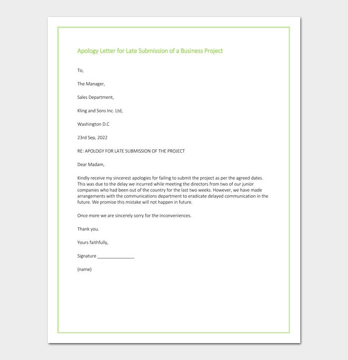 Apology Letter for Late Submission of a Business Project