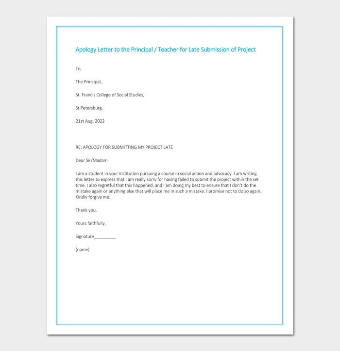 Apology Letter to the Principal for late submission of project