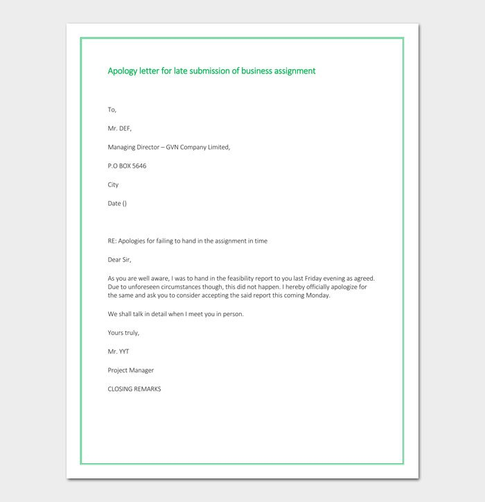 Apology letter for late submission of business assignment