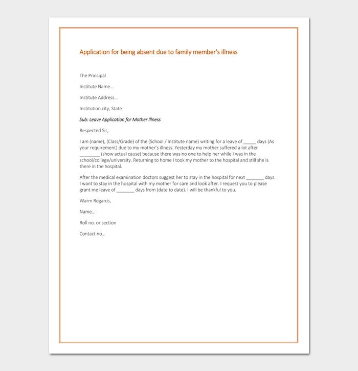 Apology Letter for Absence from School Due to Illness   Sample Letter