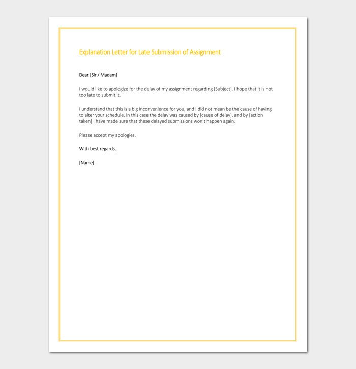 Explanation Letter for Late Submission of Assignment