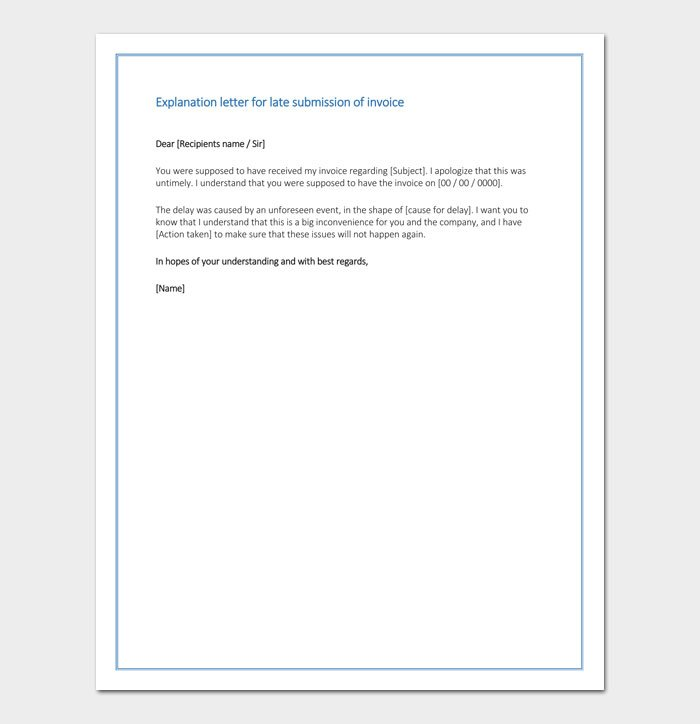 Explanation letter for late submission of invoice