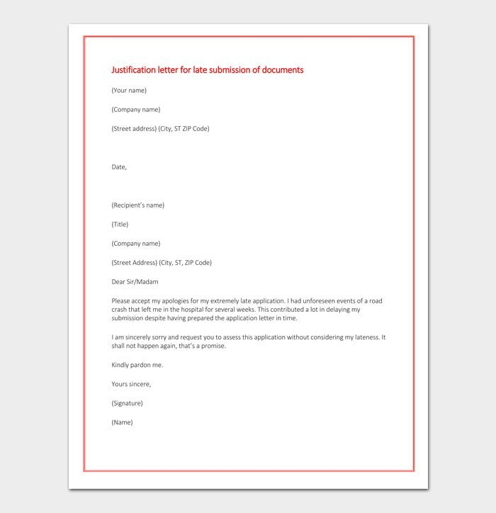 Justification letter for late submission of documents