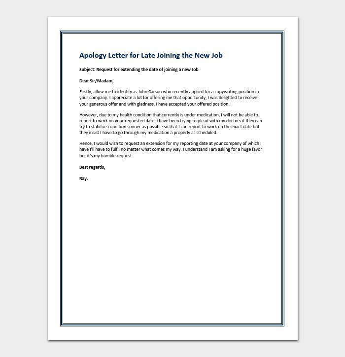 Apology Letter for Late Joining the New Job