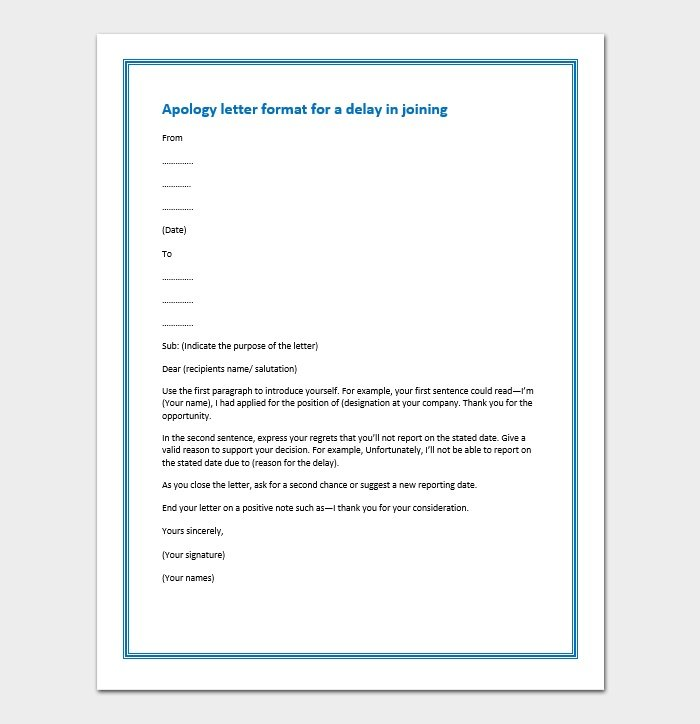 Apology letter format for a delay in joining