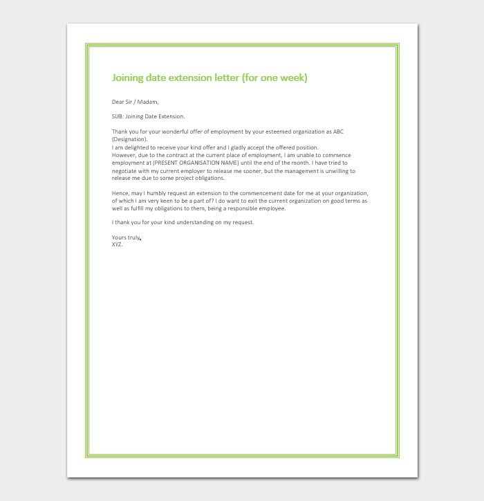 Joining date extension letter