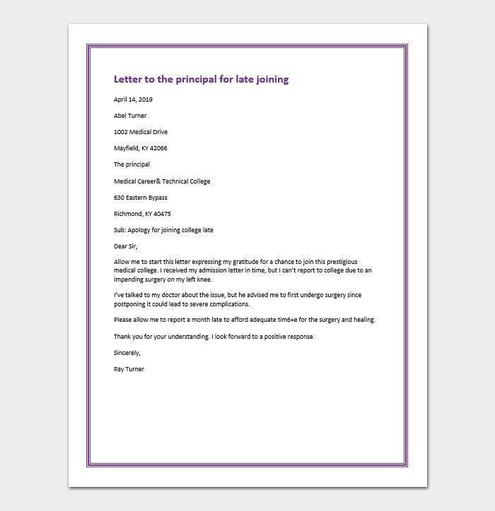 Letter to the principal for late joining