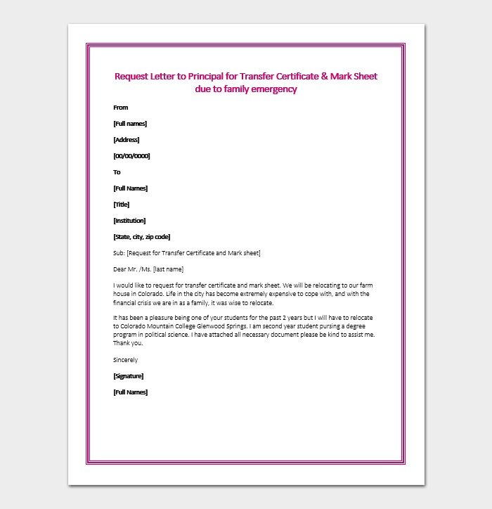 Request Letter to Principal for Transfer Certificat2