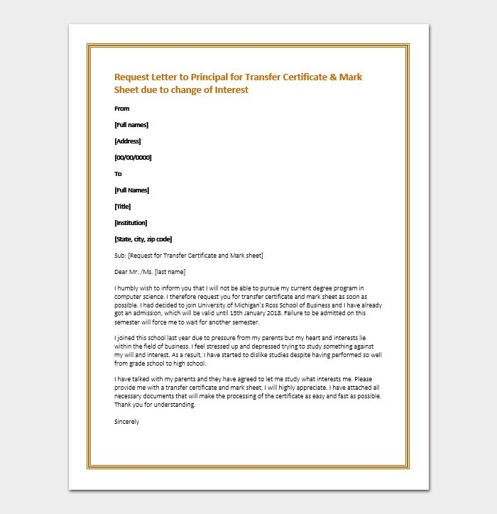Request Letter to Principal for Transfer Certificate