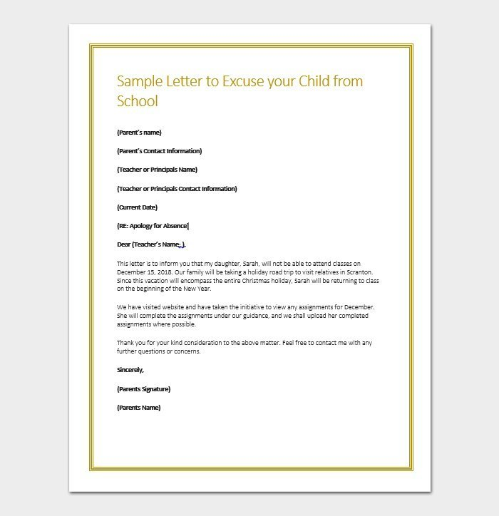 Apology Letter for Being Absent in School - Sample & Format