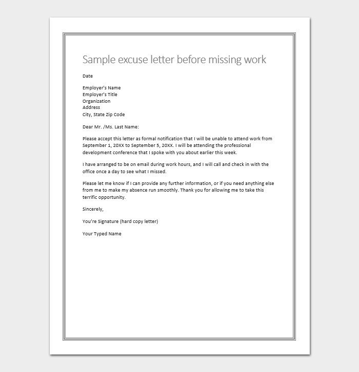 Excuse To Miss Work At Last Minute With Sample Letter Message