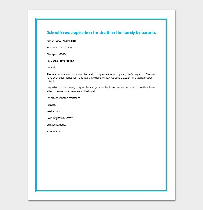 Excuse Letter - Due to the Death in the Family (Sample Letters)