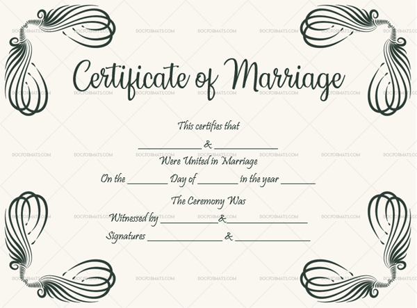 43 Marriage Certificate Template 1893 White (Printable Certificate)