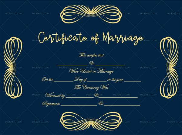 44 Marriage Certificate Template 1894 Blue Fillable Design