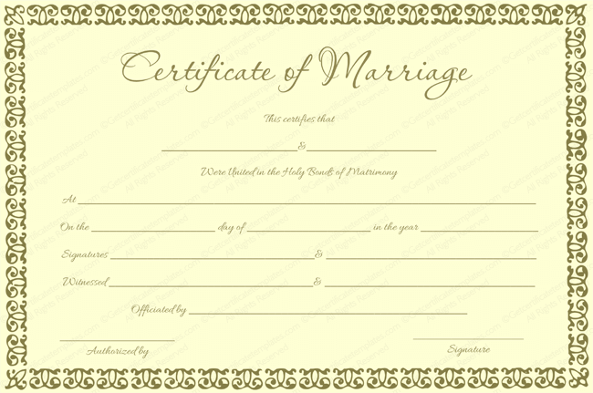 Banana Gold Colored Marriage Certificate Template (Word)