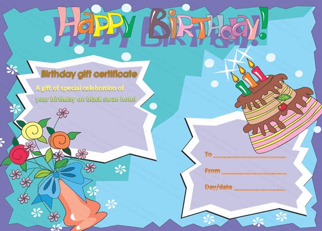 Birthday Cake Gift Certificate (customizable birthday certificate)