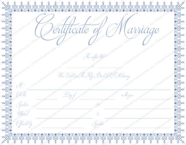 Blue Bells Marriage Certificate Template (Word)