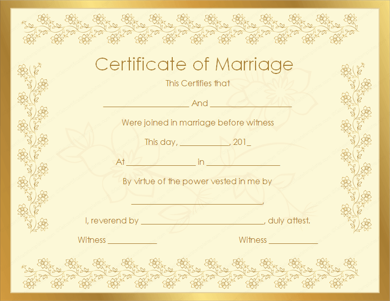 Bronze Certificate of Marriage (Printable Word Template)