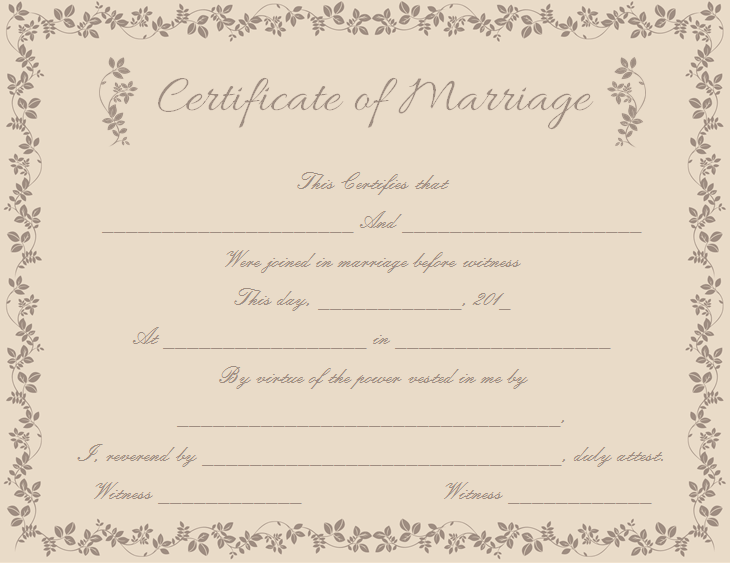 Choco Branches Themed Marriage Certificate (Word Template)