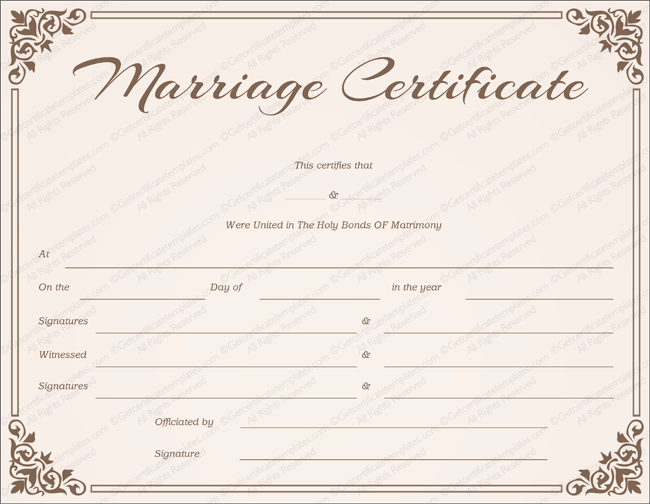 Chocolate Border Marriage Certificate Template (MS Word)