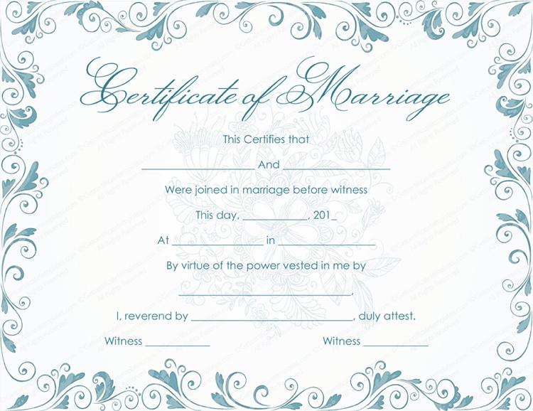 Classic Bluish Marriage Certificate Template (Light Blue Design)