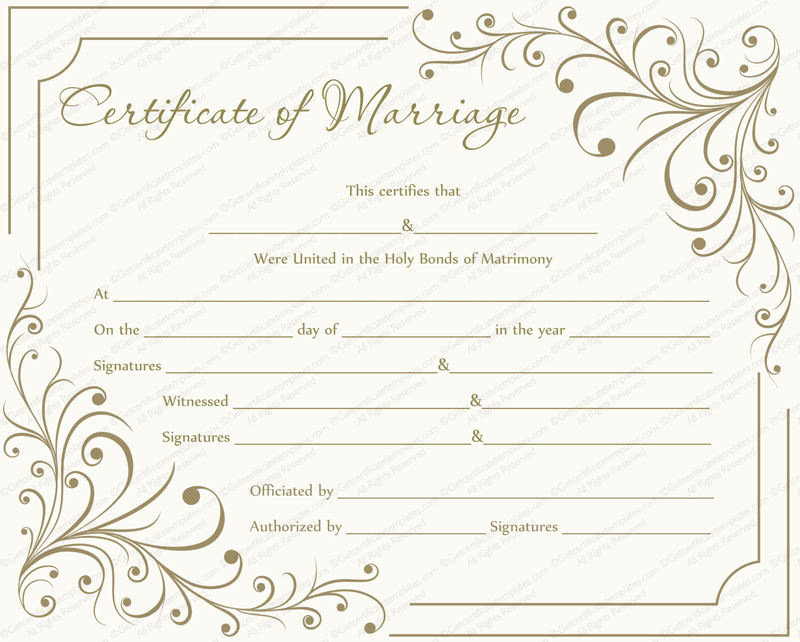 It is a photo of Smart Marriage Certificate Template Word