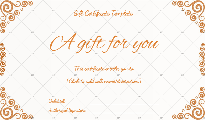 Customizable Gift Certificate Word