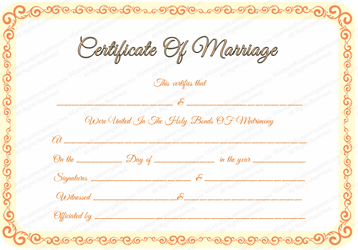 Editable Marriage Certificate Template (for Word and PDF)