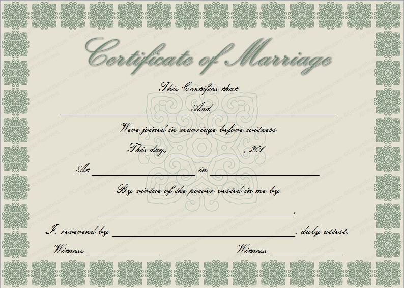 Elegant Marriage Certificate Template (Word Template)