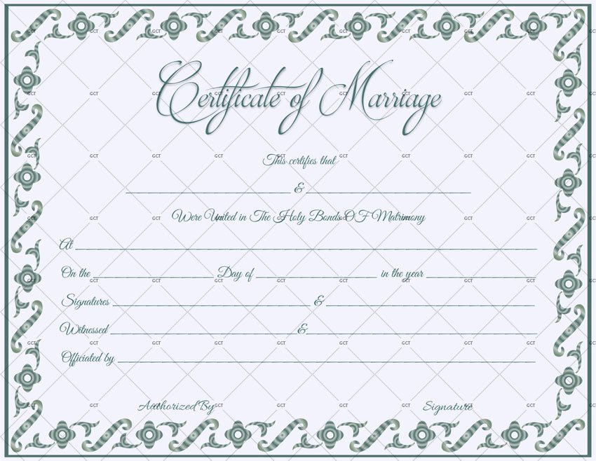 This is an image of Inventive Marriage Certificate Template Word