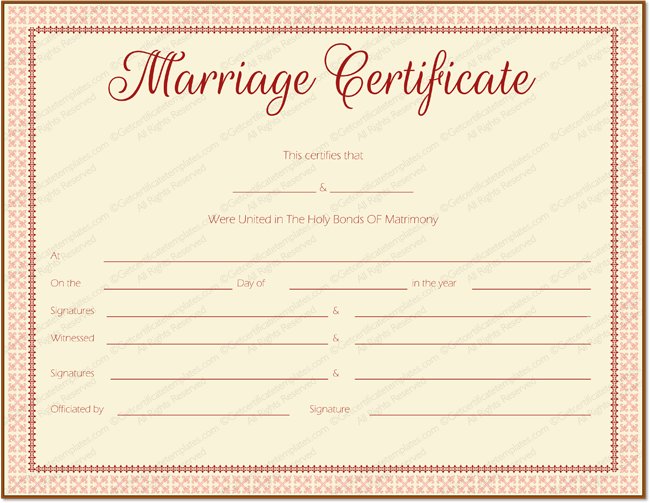 Maroon Delight Marriage Certificate Template (Printable Design)