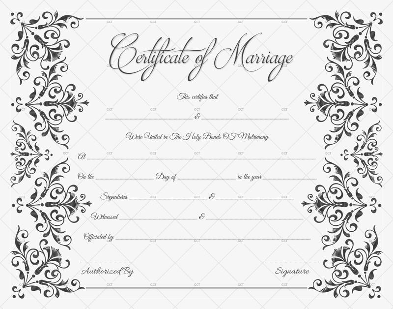 Marriage Certificate (Elegant Blank Design)